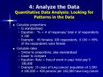 4 analyze the data quantitative data analysis looking for patterns in the data47