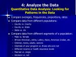 4 analyze the data quantitative data analysis looking for patterns in the data48