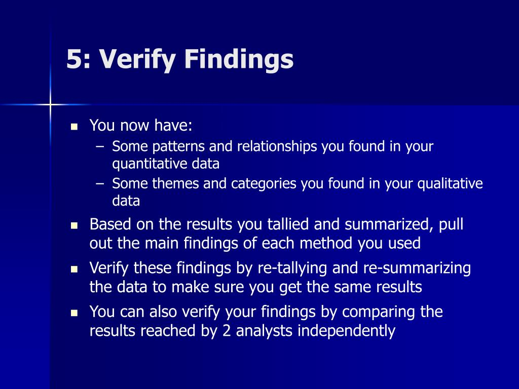 5: Verify Findings