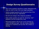 design survey questionnaire