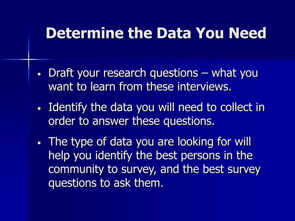 Determine the Data You Need