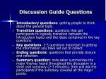 discussion guide questions