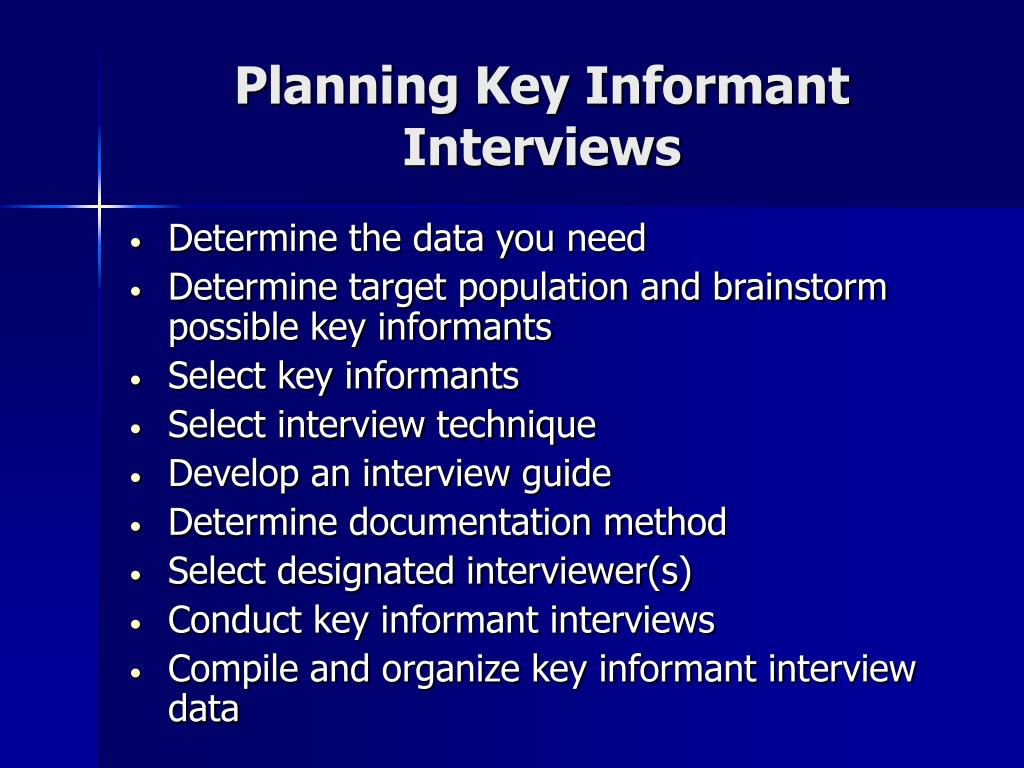 Planning Key Informant Interviews