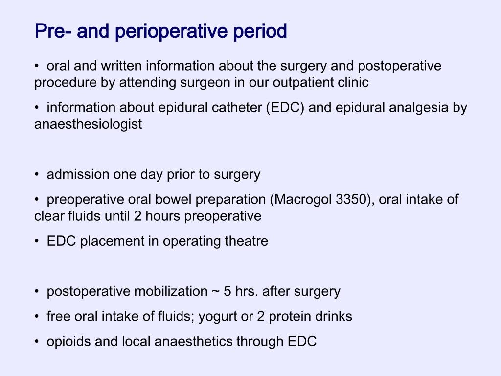 Pre- and perioperative period