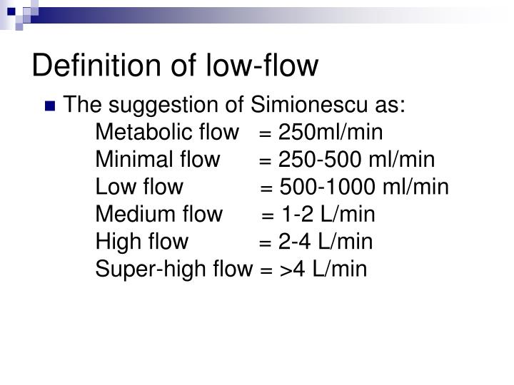 Definition of low flow