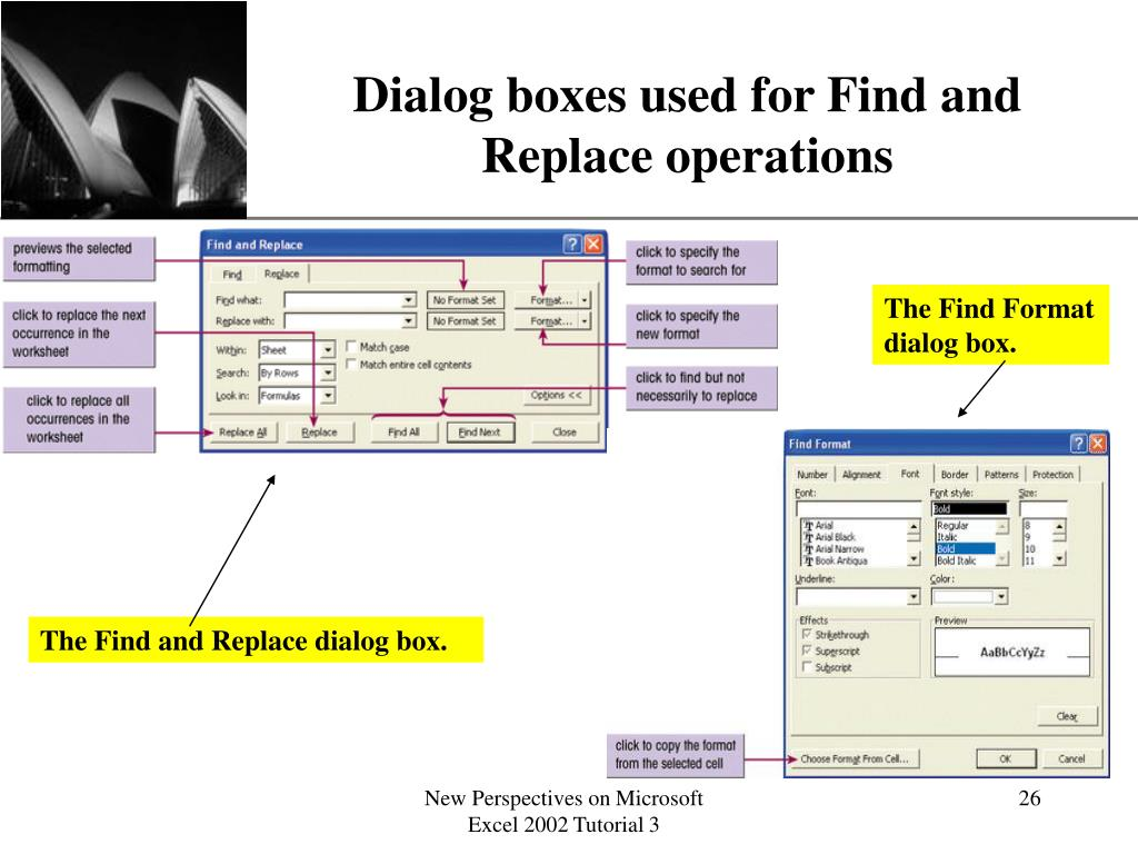 Dialog boxes used for Find and Replace operations