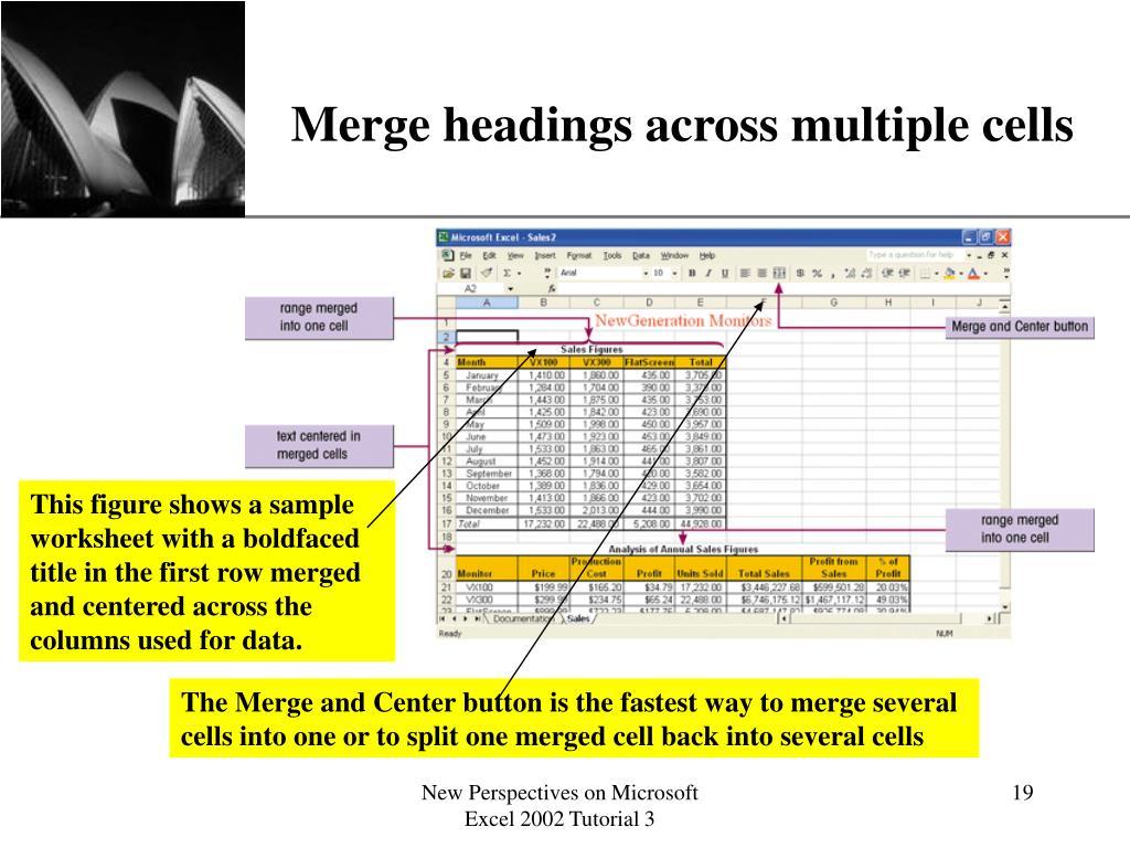Merge headings across multiple cells