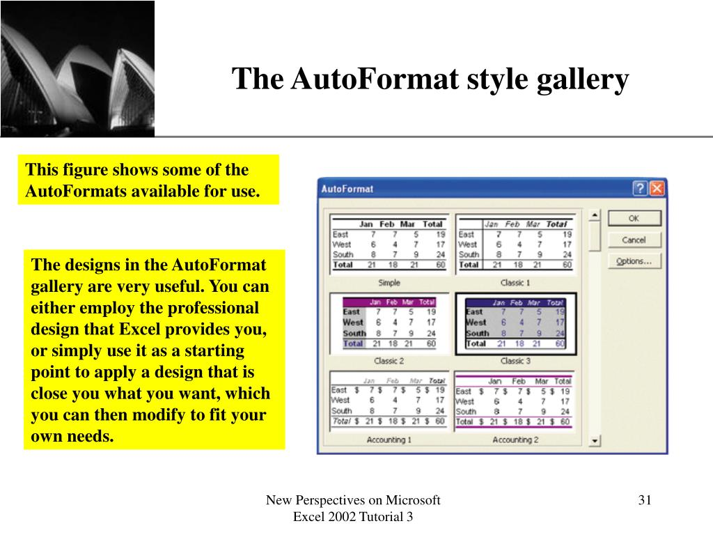 The AutoFormat style gallery