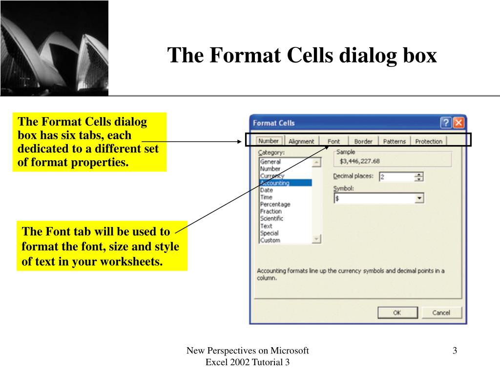 The Format Cells dialog box