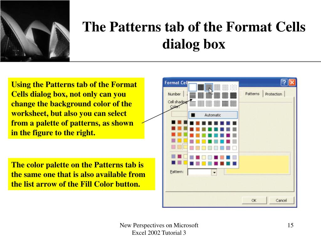 The Patterns tab of the Format Cells dialog box
