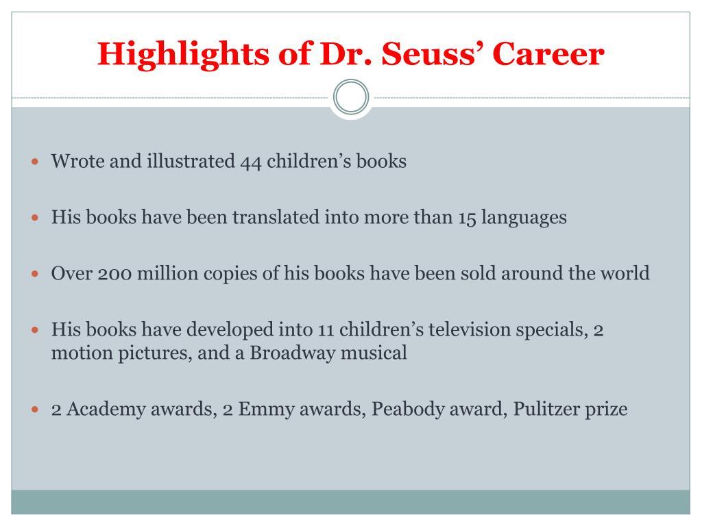 Highlights of Dr. Seuss' Career