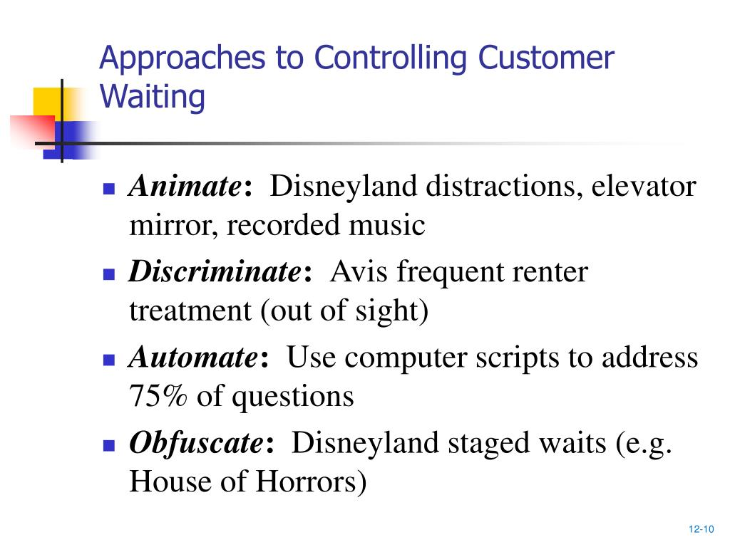 Approaches to Controlling Customer Waiting