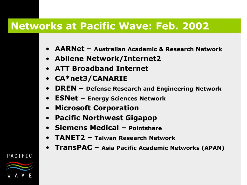 Networks at Pacific Wave: Feb. 2002