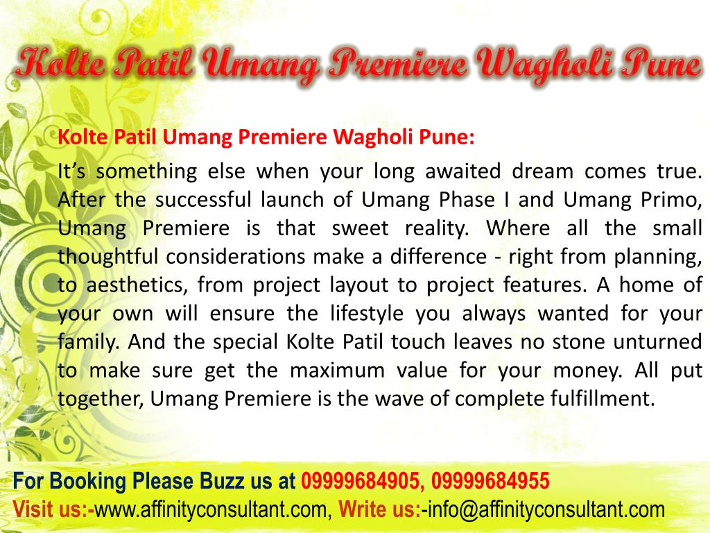 Kolte Patil Umang Premiere Wagholi Pune