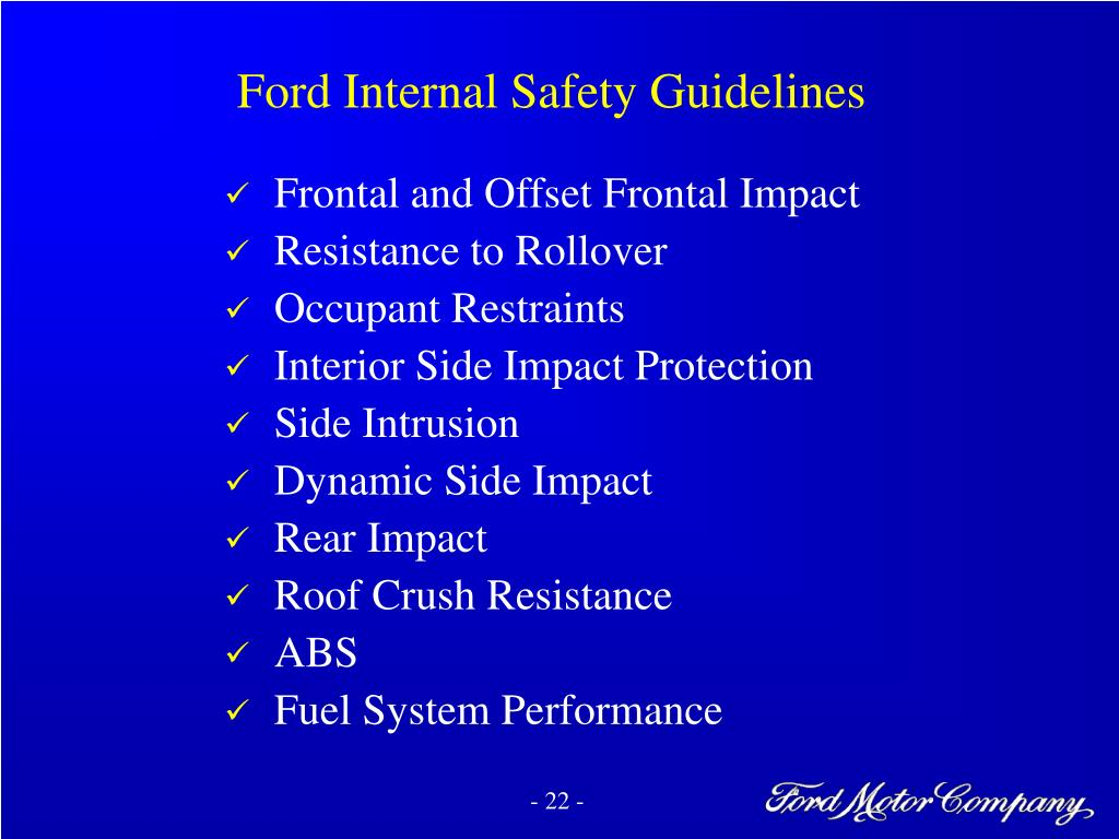 Ford Internal Safety Guidelines