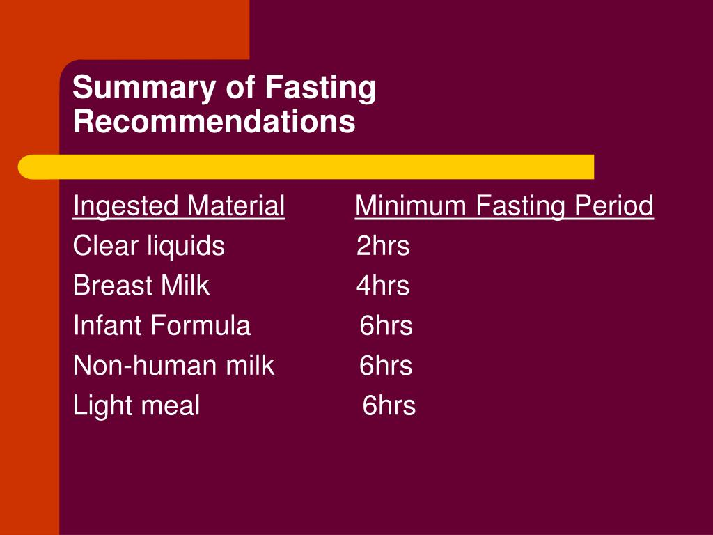 Summary of Fasting Recommendations