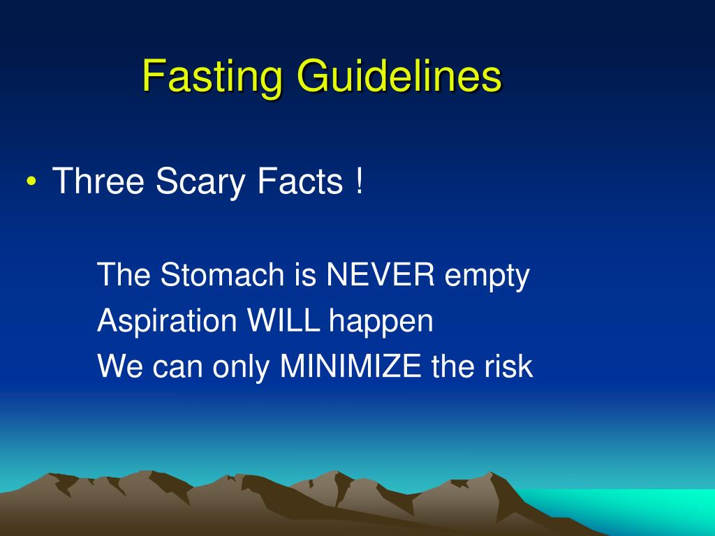 Fasting Guidelines