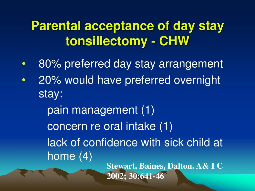 Parental acceptance of day stay tonsillectomy - CHW