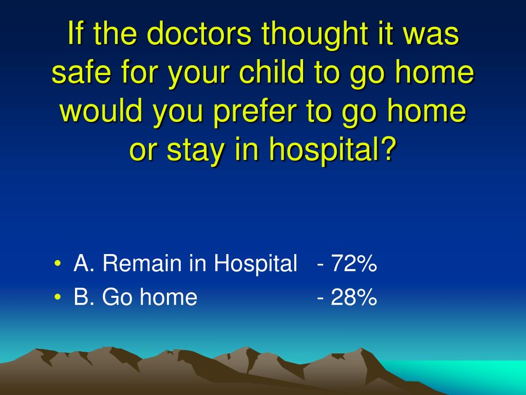 If the doctors thought it was safe for your child to go home would you prefer to go home or stay in hospital?