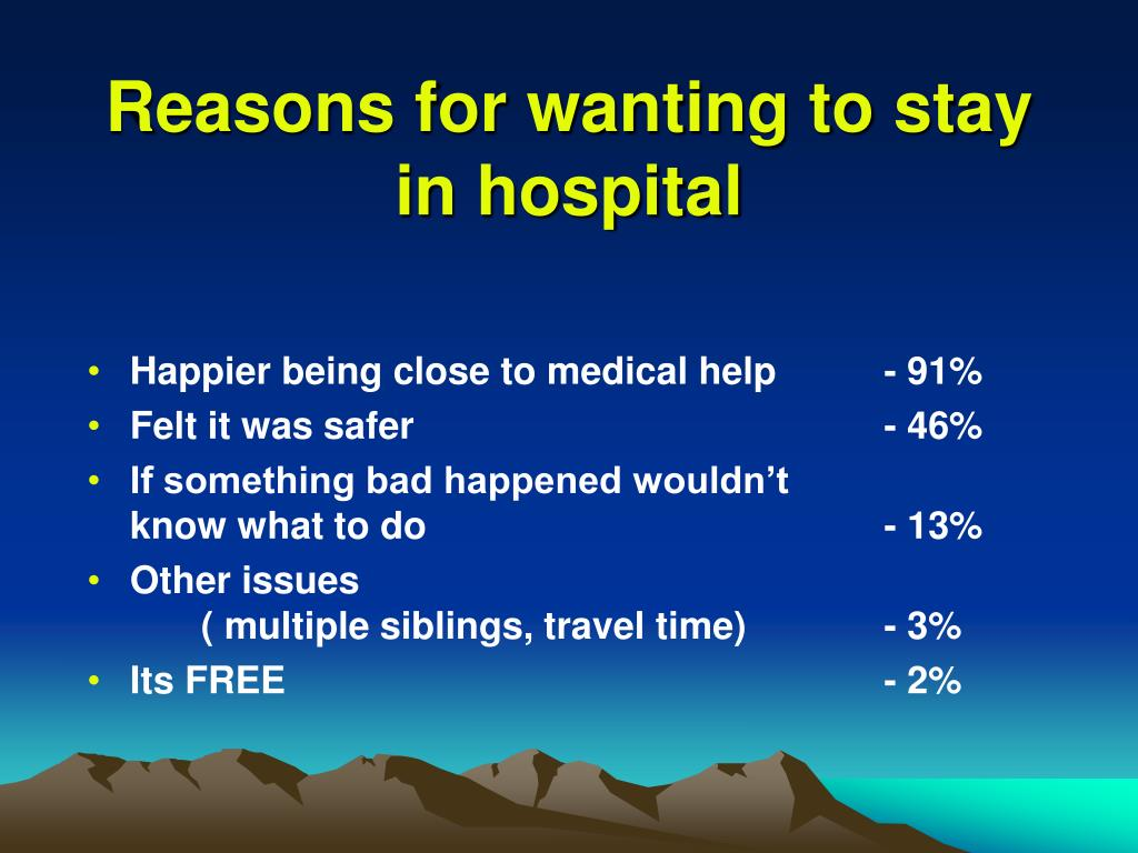 Reasons for wanting to stay in hospital