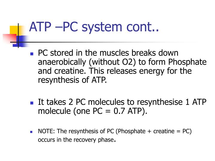 ATP –PC system cont..