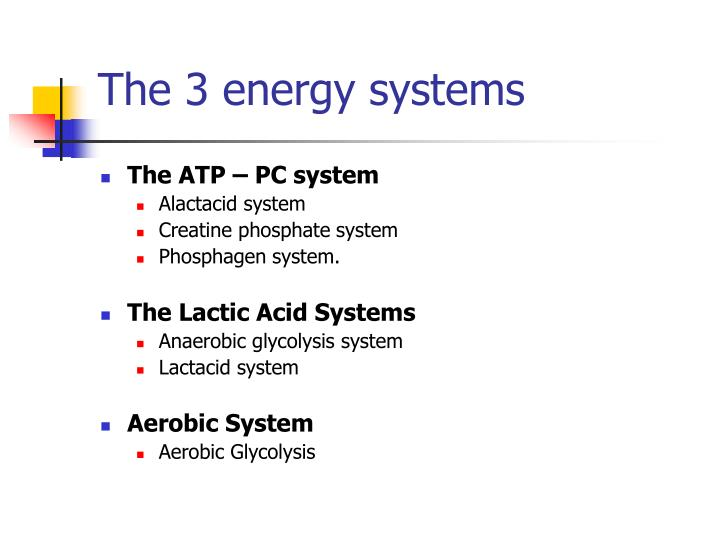The 3 energy systems