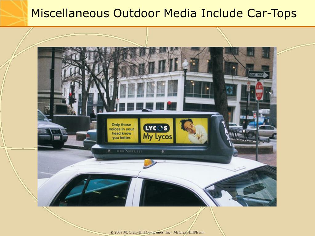 Miscellaneous Outdoor Media Include Car-Tops