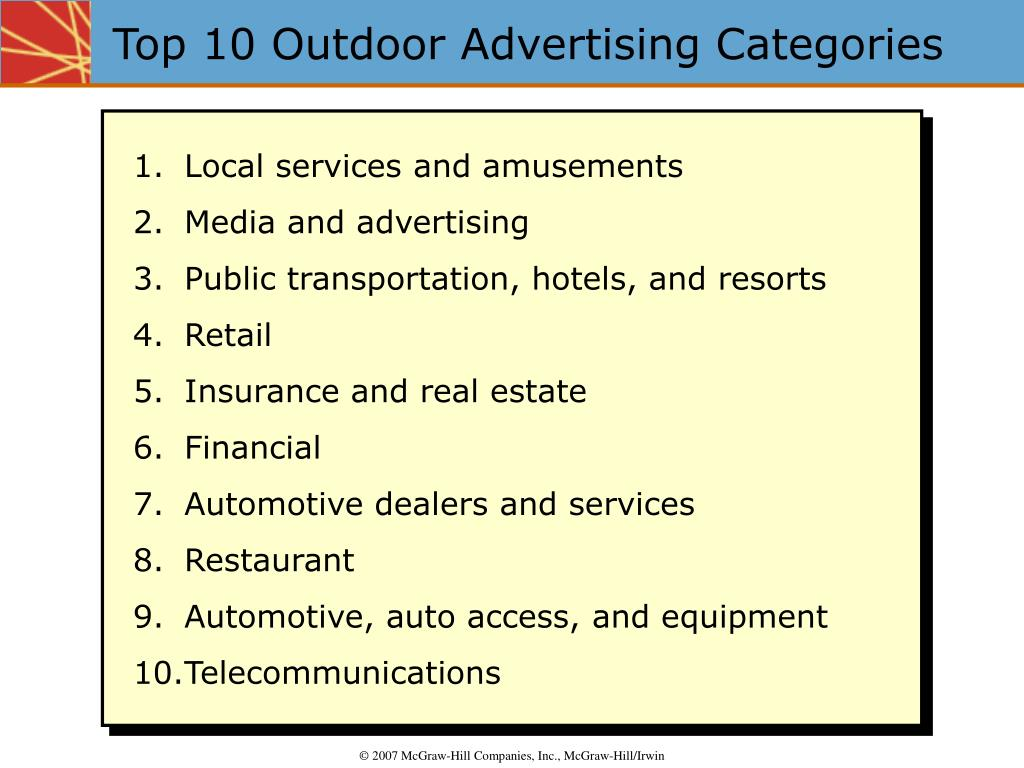 Top 10 Outdoor Advertising Categories