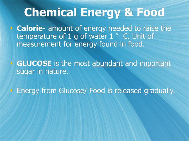 Chemical energy food
