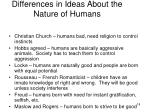 differences in ideas about the nature of humans