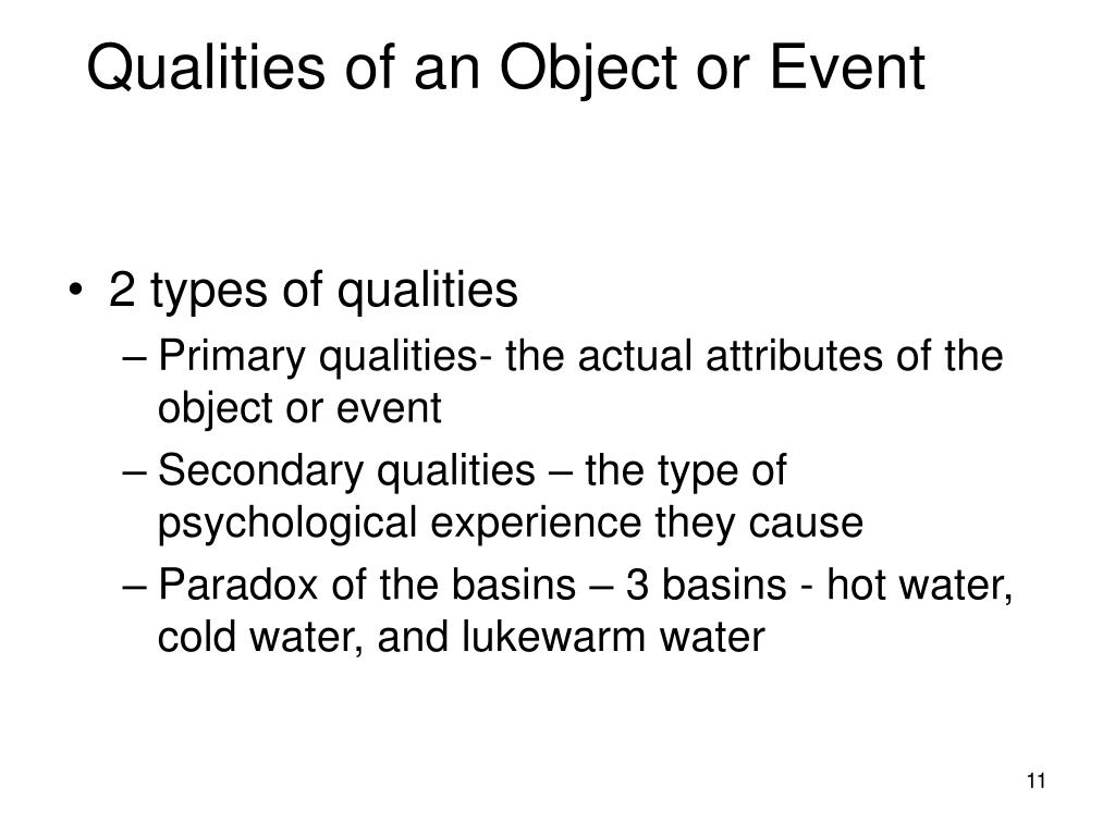 Qualities of an Object or Event
