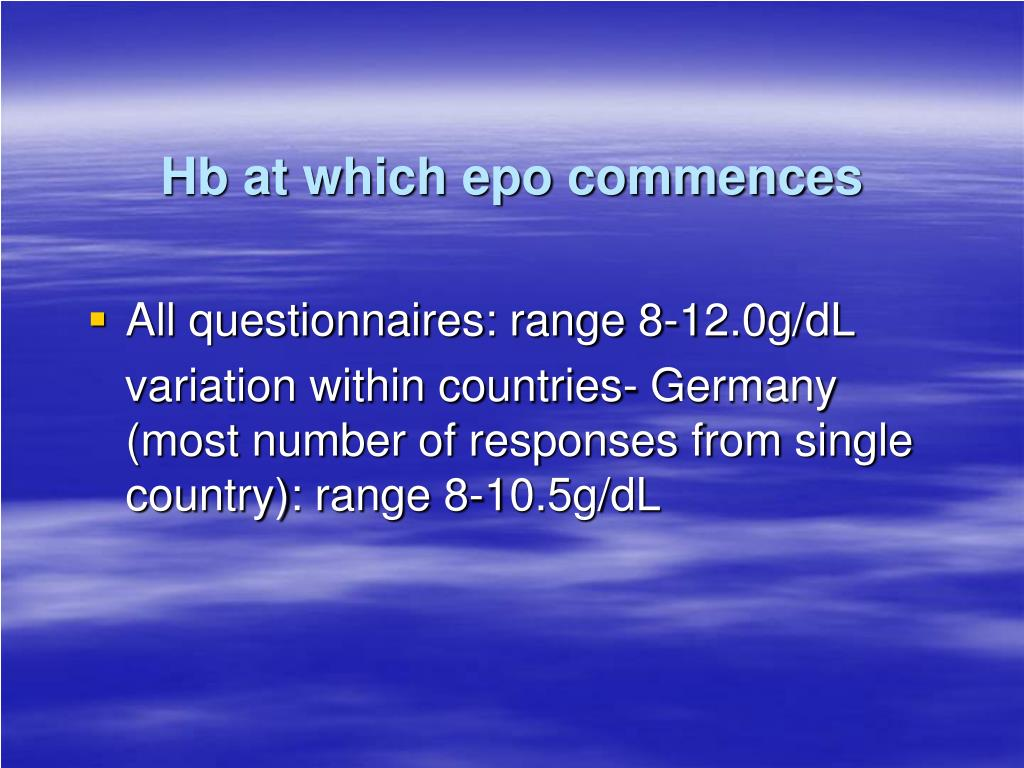 Hb at which epo commences