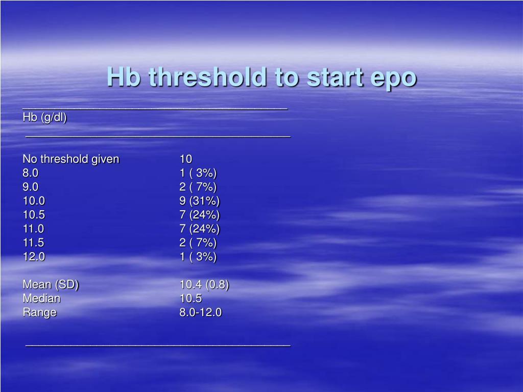 Hb threshold to start epo