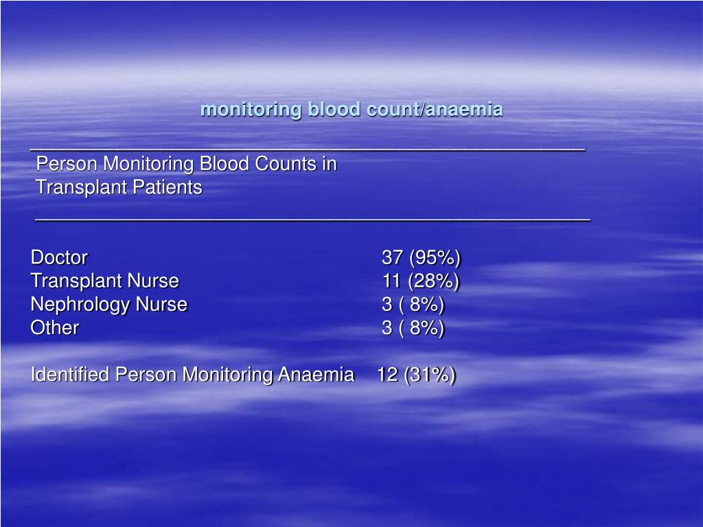 monitoring blood count/anaemia