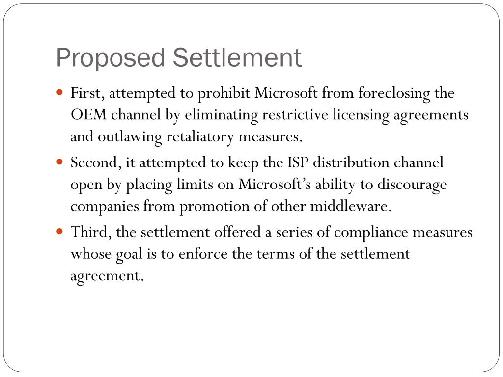 Proposed Settlement