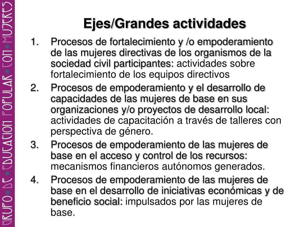 Ejes/Grandes actividades