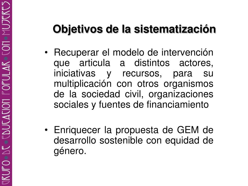 Objetivos de la sistematización