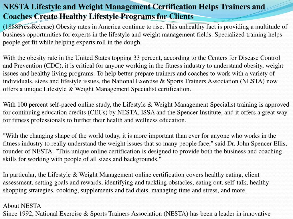 NESTA Lifestyle and Weight Management Certification Helps Trainers and Coaches Create Healthy Lifestyle Programs for Clients