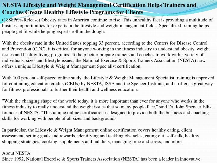 NESTA Lifestyle and Weight Management Certification Helps Trainers and Coaches Create Healthy Lifest...