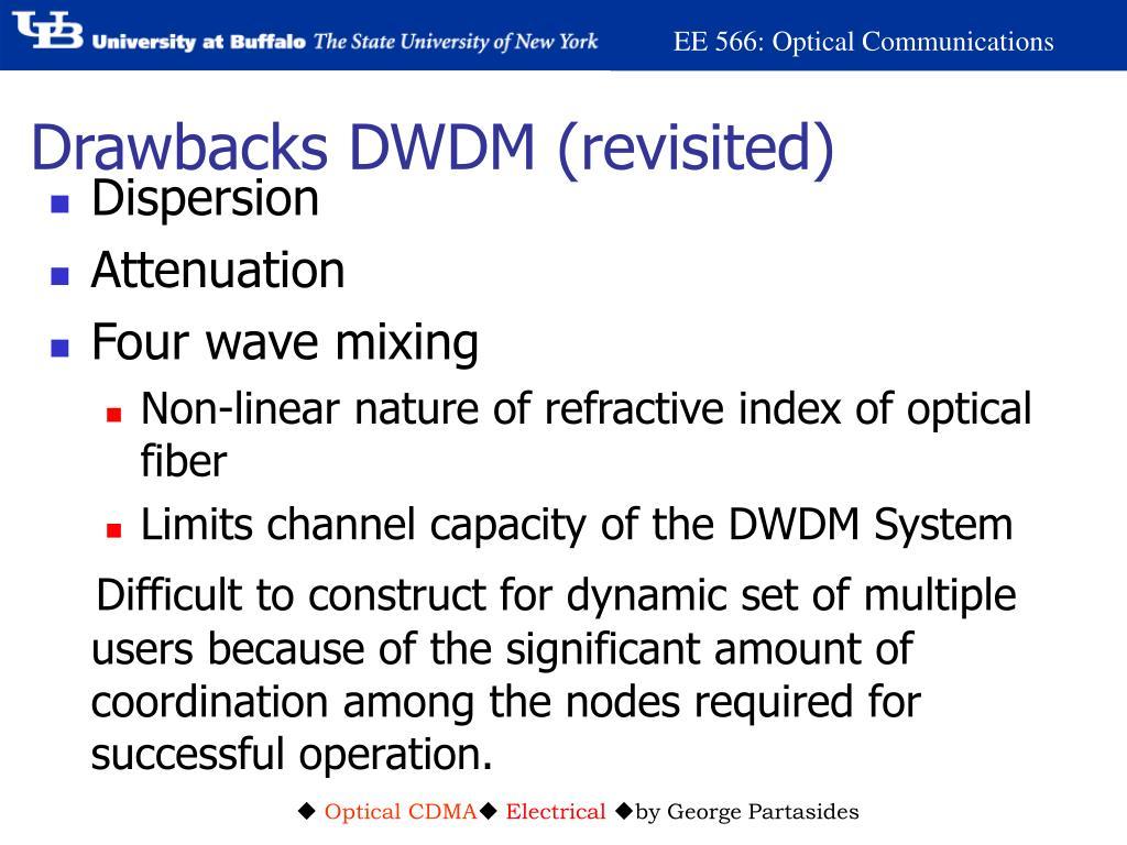 Drawbacks DWDM (revisited)