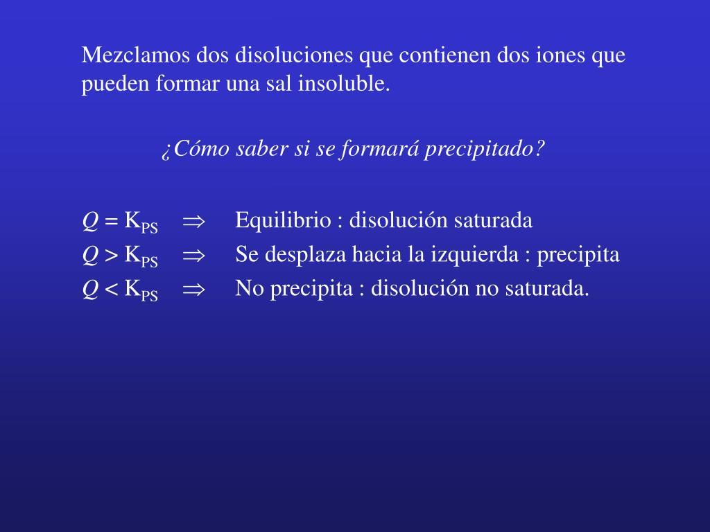 Mezclamos dos disoluciones que contienen dos iones que