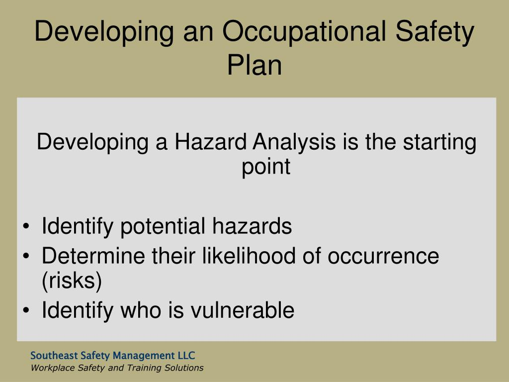 Developing an Occupational Safety Plan