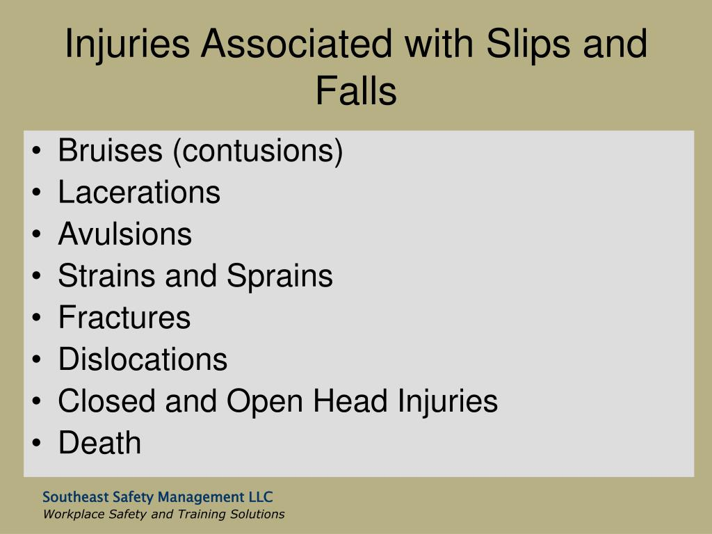 Injuries Associated with Slips and Falls
