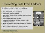 preventing falls from ladders