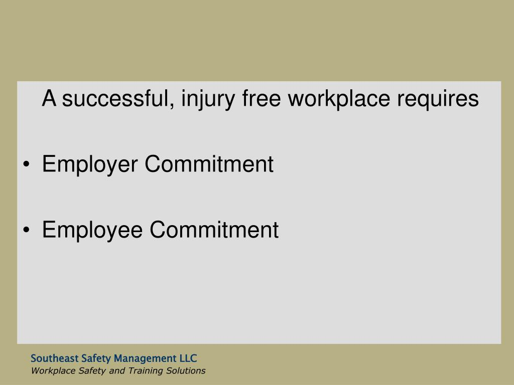 A successful, injury free workplace requires