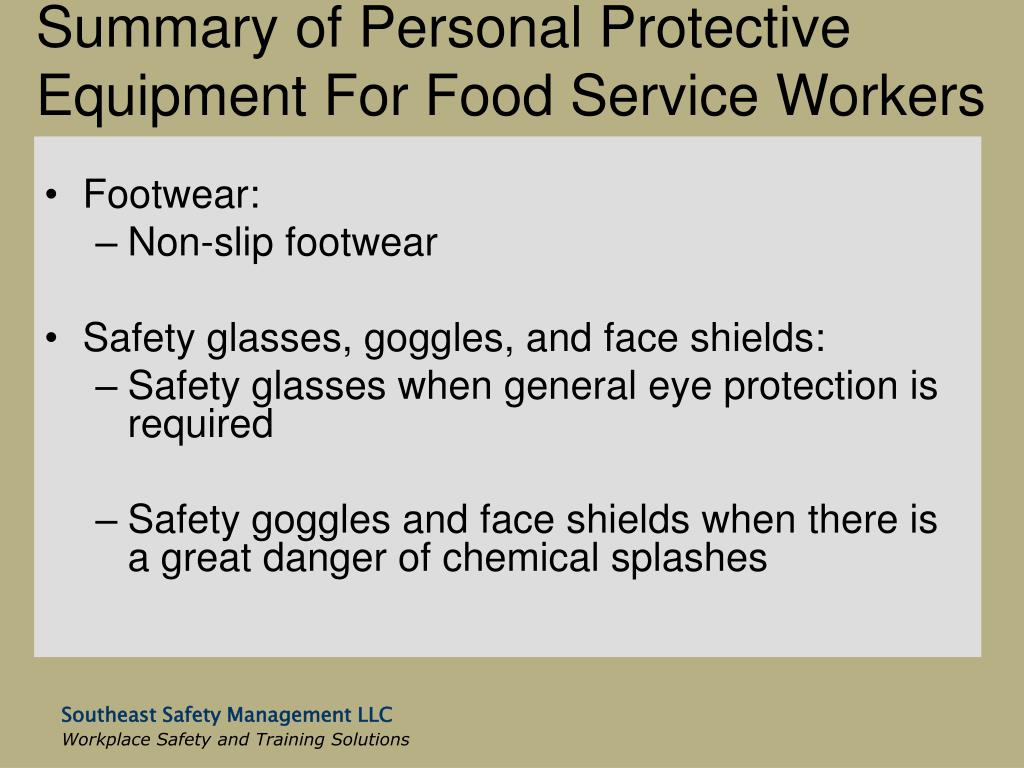 Summary of Personal Protective Equipment For Food Service Workers