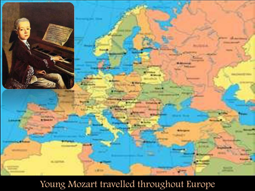 Young Mozart travelled throughout Europe