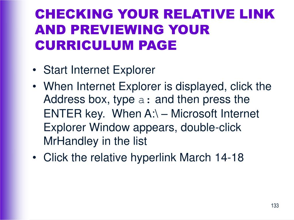 CHECKING YOUR RELATIVE LINK AND PREVIEWING YOUR CURRICULUM PAGE