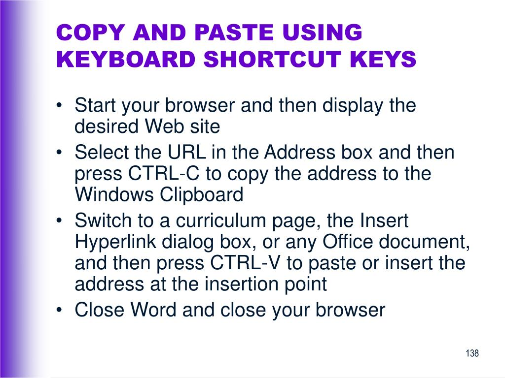 COPY AND PASTE USING KEYBOARD SHORTCUT KEYS