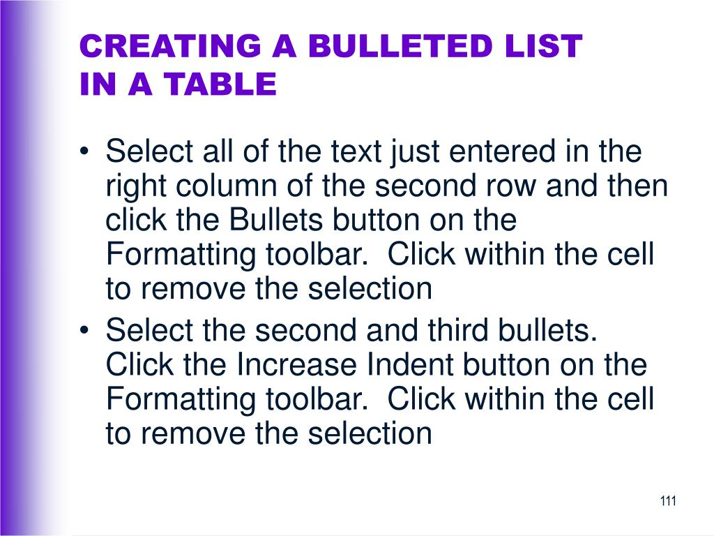 CREATING A BULLETED LIST